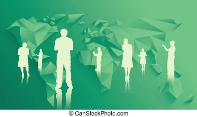 White silhouettes of business people on green world map...
