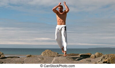 Martial arts expert practicing by the coast in slow motion
