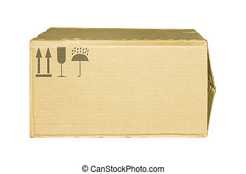 Carton box with caution symbol isolated on white background