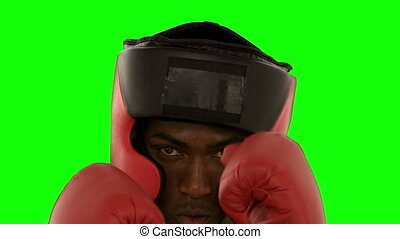 Boxer in helmet punching towards camera in slow motion