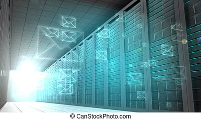 Email graphics in server room - Digital animation of Email...
