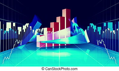 Blue finance and business concept - Digital animation of...