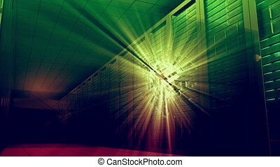Glowing light moving through server - Digital animation of...