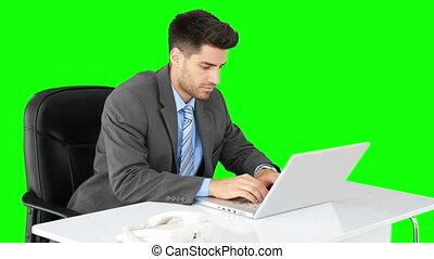 Handsome businessman typing at desk