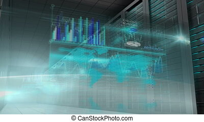Business interfaces in server room - Digital animation of...