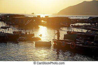 sunset at fishing village