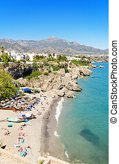 Nerja beach, famous touristic town in costa del sol,...