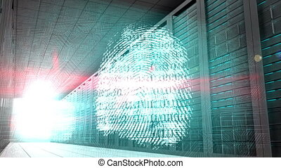 Identity graphics in server room - Digital animation of...