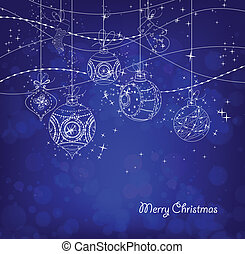 Christmas Ornaments - blue Christmas Background With...