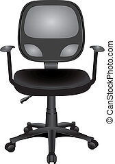 Office Chairs - Office chair with armrests on wheels Vector...