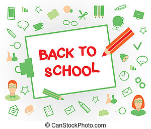 Welcome back to school Flat design objects on a white...