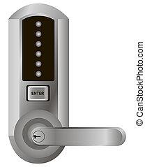Simple electronic lock on the door handle. Vector...