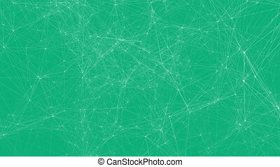 White technology lines connectivity animation on green...
