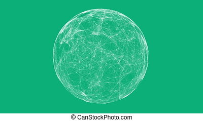 White technology sphere connectivity animation on green...