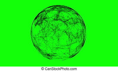 Black technology sphere connectivity animation on green...