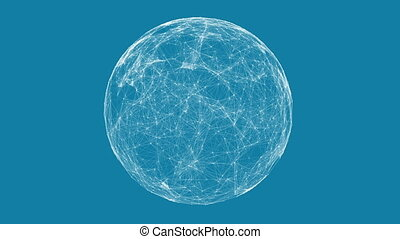 White technology sphere connectivity animation on blue...