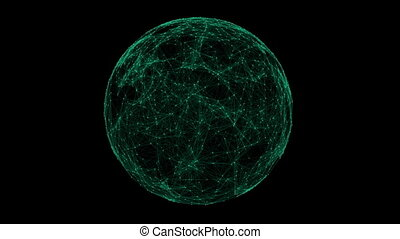 Green technology sphere connectivity animation on black...