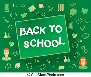 Welcome back to school Flat design objects on a green...