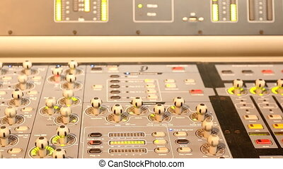 Close up modern music control panel - Closeup of big modern...