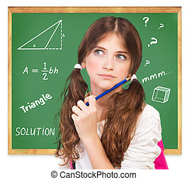Thinking about mathematics task - Closeup portrait of cute...