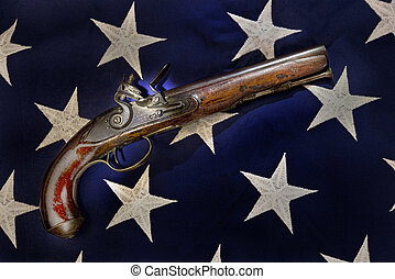 Antique Flintlock Pistol - Antique flintlock pistol carved...