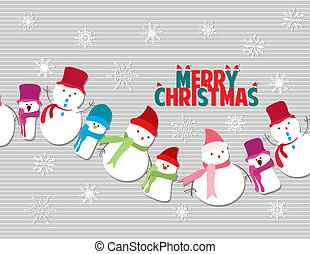 Merry christmas with snowmans