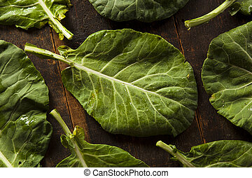 Raw Organic Green Collard Greens on a Background