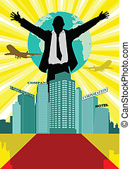 Conglomerate - Illustration of a man in business suit...