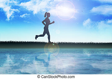 Jogging - Silhouette illustration of a female figure were...