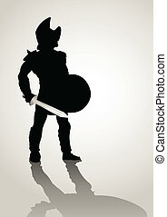 Gladiator - Silhouette illustration of a gladiator holding a...
