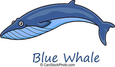 Cartoon ocean blue whale - Funny cute cartoon blue whale...