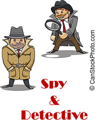 Detective and spy man cartoon characters