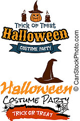 Halloween holiday party banners with pumpkins, witch hat,...