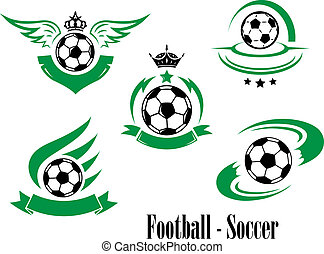 Set of football or soccer emblems with rushing balls,...
