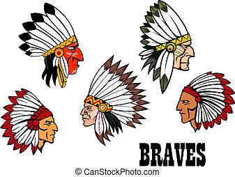 Indian brave chief portraits set - olorful cartoon native...