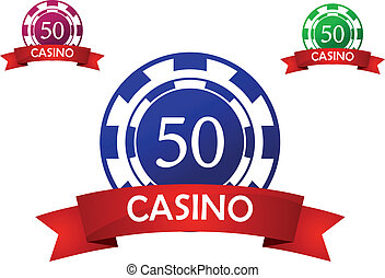 Casino chip emblem - Casino chipemblem with banner and text...