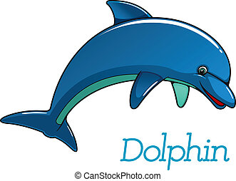 Cute cartoon dolphin character - Cute cartoon dolphin...