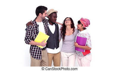 Hipster students smiling and chatting on white background