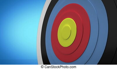 Arrow flying towards dart board and hitting target on blue...