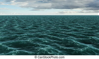 Digitally generated blue ocean moving on blue sky background