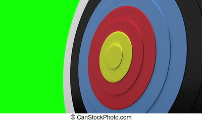 Arrow flying towards dart board and hitting target on green...