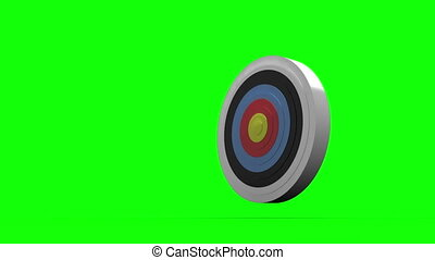 Arrows flying towards dart board and hitting target on green...