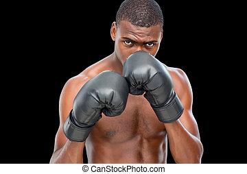 Shirtless muscular boxer - Portrait of a shirtless muscular...