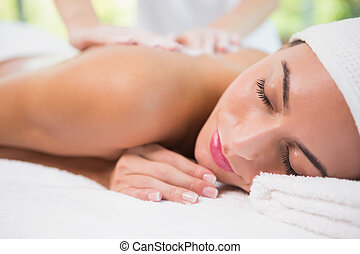 Attractive woman receiving back mask cream at spa center -...
