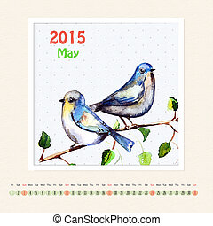 Calendar for may 2015 with bird, watercolor painting