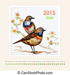 Calendar for june 2015 with bird, watercolor painting
