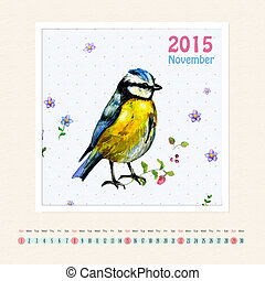 Calendar for november 2015 with bird, watercolor painting