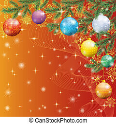 Christmas spruce fir tree with ornaments - Background for...