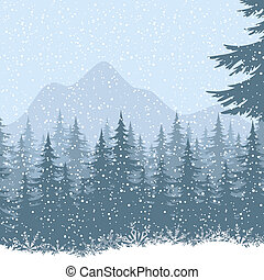 Winter mountain landscape with fir trees and snow