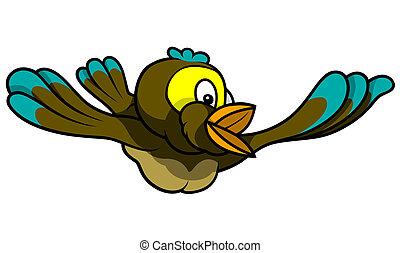 Flying Bird - Colored Cartoon Illustration, Vector